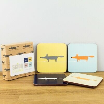 New Scion Living Mr Fox Set of 4 Cork & Melamine Gift Boxed Coasters