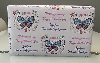 "Personalised Mother's Day Wrapping Paper with 2 tags ""Butterfly"""