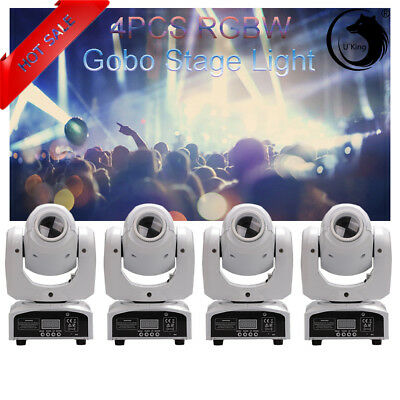 4PCS 30W RGBW LED Moving Head Stage Lighting DMX-512 DJ Disco XMAS Party Light