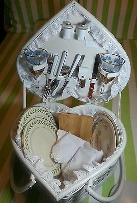"""Vintage """"Picnic Time"""" Heart Basket Beautiful Gift For Wedding or Valentine!"""