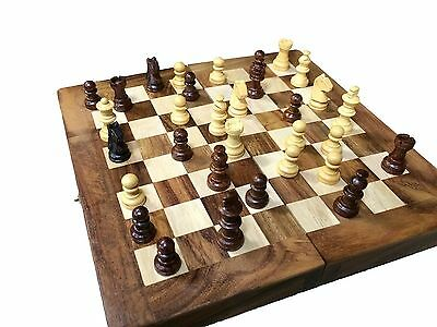 Hand Carved Wooden Chess Set Vintage Pieces Board Wood Chess Board + Storage NEW