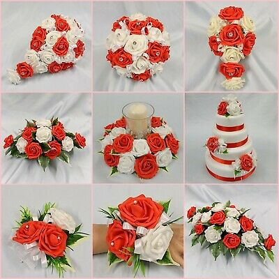 Wedding Flowers Bouquet Red Package Bride Bridesmaid Flower Girl Buttonholes