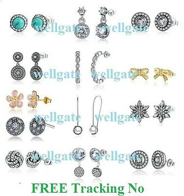 925 Sterling Silver Well Spark Earrings Studs Drops for European Charm Bracelet