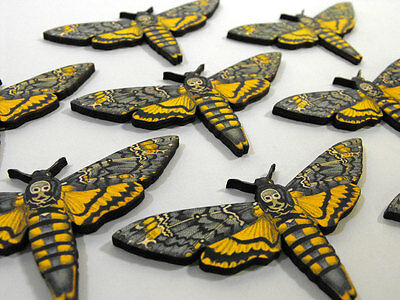8 Wooden Death Head Moths - Laser Cut Wood Insects for Craft Dreamers