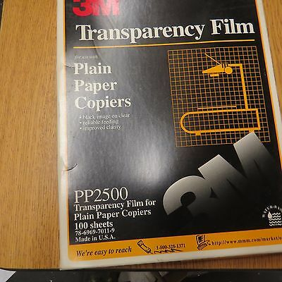 "3M PP2500 Transparency Film For Copiers 8 1/2"" x 11"" 100 SHEETS Free Ship"