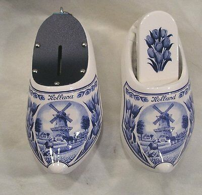 Set Of  Two Wall Hanging  Holland Clogs 1 Saving Bank & Clothes Brush Holder New