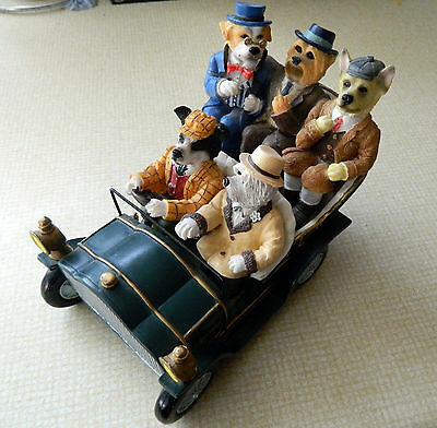 Regency Fine Arts RARE. 5 Dogs Of Doggington in a car. St Peter. The Outing.