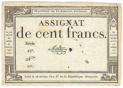 Revolution France assignat 100 Francs 1795 - French 18th century note