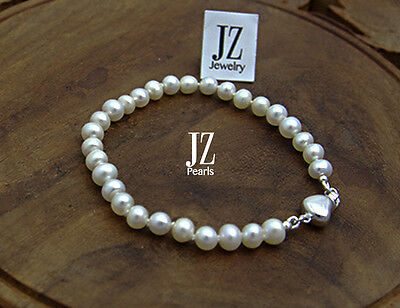 Freshwater Pearl Bracelet with Sterling Silver Heart Clasp for 1st Baby Gift