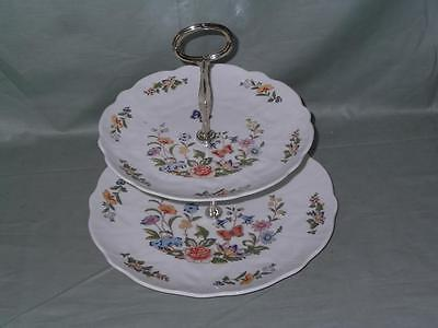 Aynsley Cottage Garden Bone China 2-Tier Hostess Cake Plate Stand