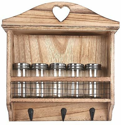 Wooden Spice Herbs Storage Rack Jar Holder Wall Hanging 5 Jars Included 3 Hooks