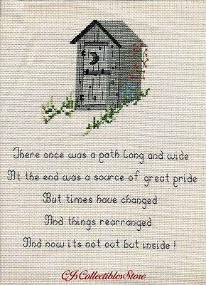 Outhouse ~ There once was a…   Finished Completed Cross Stitch Sampler  ƒ1537