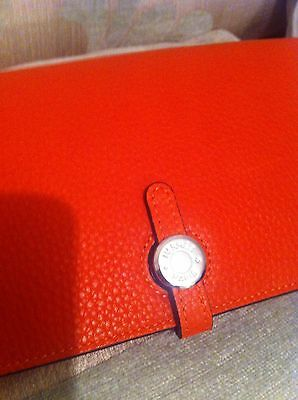 Hermes Dogon Red Combined Bifold Leather Wallet Silver Hardware
