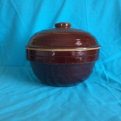 Brown Glazed Stoneware Covered Bowl Casserole Ovenproof  USA 9 in