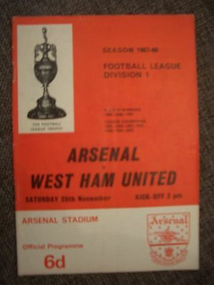 1967....ARSENAL v WEST HAM UNITED.....Division One.....Football Programme