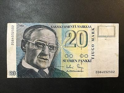 1993 Finland Paper Money - 20 Mark Banknote !