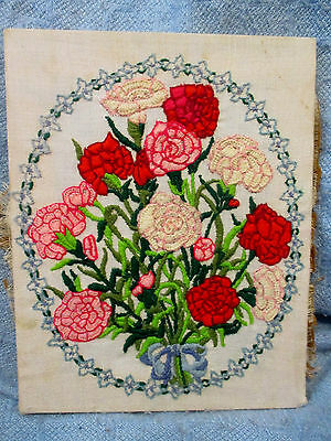 Vintage 11 x 14 Floral Hand Embroidery Stretched Wood Frame - Ready to Frame