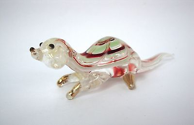 OTTER Color Hand Blown Glass Figurine Art With Gold Trim
