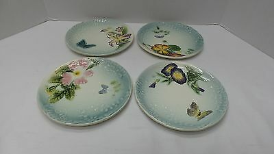 4 Antique Majolica Salad Plates HB Co CHOISY LE ROI France Butterfly Flowers