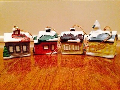 Set of 4 SNOWY VILLAGE HOUSE CHURCH CHRISTMAS ORNAMENTS HOMCO Numbered Porcelain