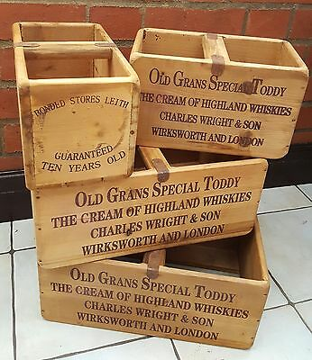 Antique Vintage Style Old Grans  Highland Whisky Rustic Boxes.Storage Planters