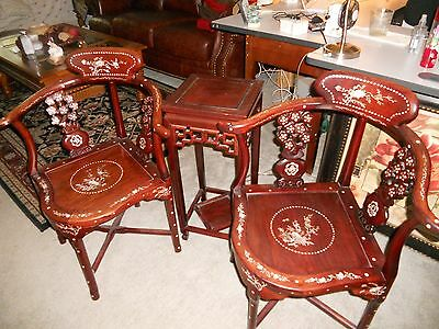 Antique Rosewood Oriental  Mother of Pearl Chairs with Matching Table