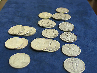 One Roll of Asstd Franklin & Walking Liberty Halves-20 coins/$10-circulated