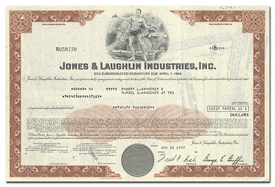 Jones & Laughlin Industries, Inc. Bond Certificate