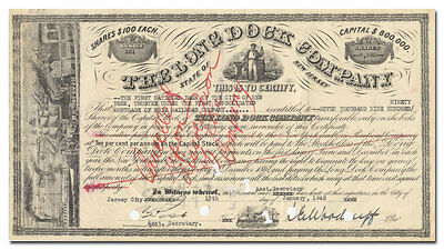 Long Dock Company Stock Certificate (New Jersey, Fantastic Vignette)