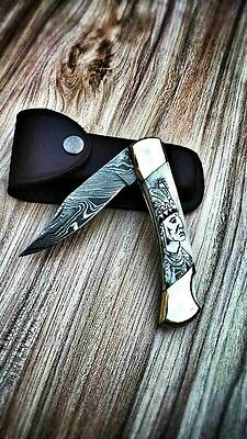 Hand Made Damascus Steel Pocket Knife,scrimshaw Folding Knife Handle Stag,