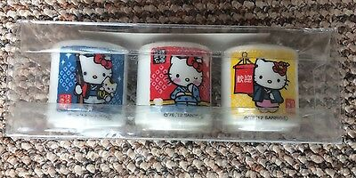 Brand NewHello Kitty Egg Cups x3 From Tokyo/Japan Yellow Red White & Blue Sanrio
