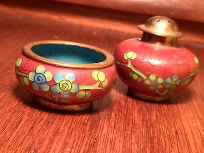 chinese floral cloisonne salt and pepper set