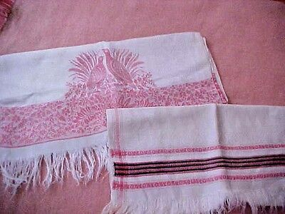 Two VTG Show Damask Embossed Show Towels Turkey Red Work~Fringe~Pheasant~Stripe