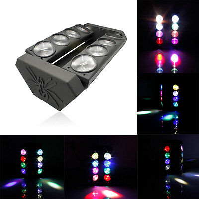 8x15W LED RGBW Spider Moving Head Light Stage Lighting DJ Disco DMX US EU UK AU