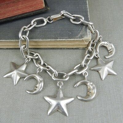 Taxco Mexico Sterling Silver Moons and Stars Charm Bracelet
