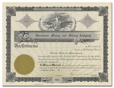 Hornsilver Mining and Milling Company Stock Certificate (Idaho)