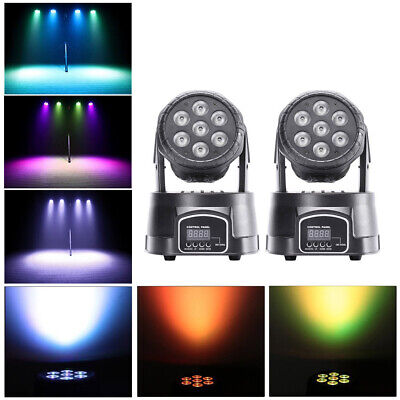 2PCS RGBW 70W LED Moving Head Stage Lighting DMX-512 DJ Disco XMAS Party Light