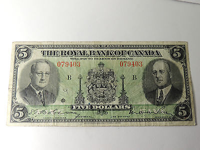 1943 Royal Bank Of Canada $ 5 Five Dollars 079403 Last Issued 630-20-02