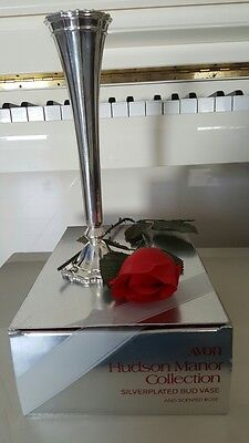 Avon Silver Plated Bud Vase With A Rose
