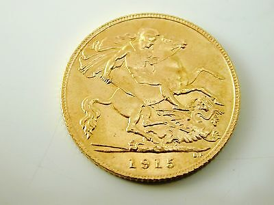 Half sovereign gold coin 22 carat gold dated 1915 George V 4.0 grams