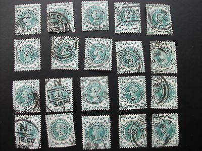 GB STAMPS VICTORIA HALFPENNY GREEN (1/2d) 1887 WITH PERFORATIONS 20 STAMPS