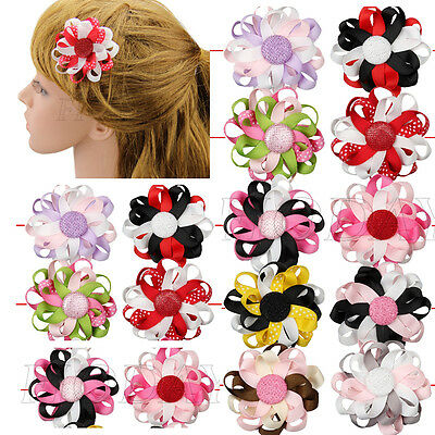 "3"" Boutique Girl Baby Kids Flower Loop Hair Bow Alligator Clips Hair Accessorie"