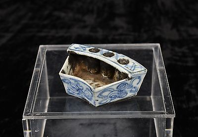 Antique Chinese Blue & White Porcelain Brush Washer / Pen Holder, Qing, 19th c