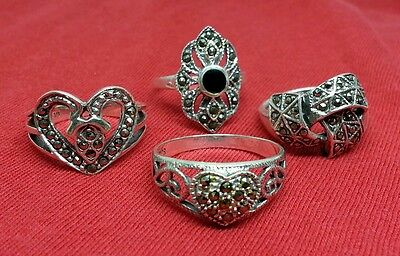 .925 Sterling Silver Jewelry Lot of 4 MARCASITE Mix Rings WHOLESALE