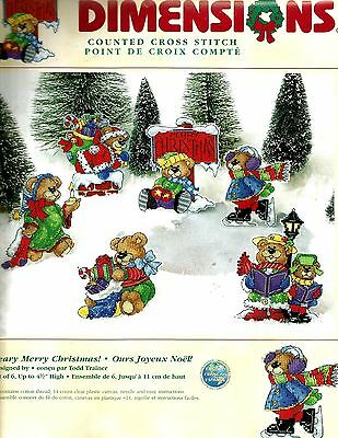 "2001 DIMENSIONS ""Beary Merry Christmas"" Counted Cross Stitch Ornaments - Makes 6"