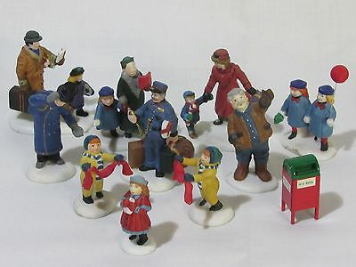 Mixed Lot of 12 Department 56 Village Heritage People w/ Mailbox VG+ Condition
