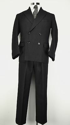 "40"" Short Gieves Savile Row Suit 1960's Double Breasted Charcoal Grey Vintage"