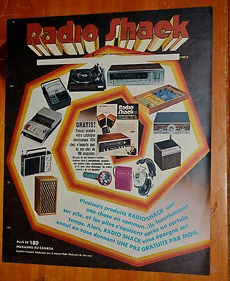1974 Radio Shack Electronics French Canadian Ad - Radios Game Turntable Stereo