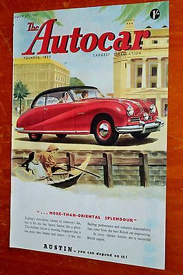 1951 Austin A90 Sports Saloon In Singapour Ad - Autocar Magazine Cover - 50S