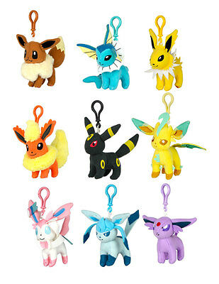 Official 2017 Tomy Pokemon Eevee Evolution Plush Keychains 10cm